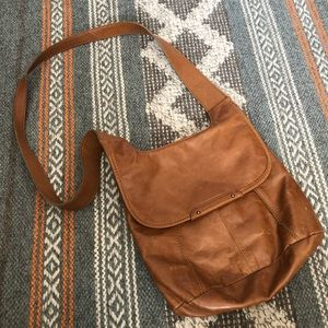 HOBO Small Camel Brown Leather Crossbody Purse